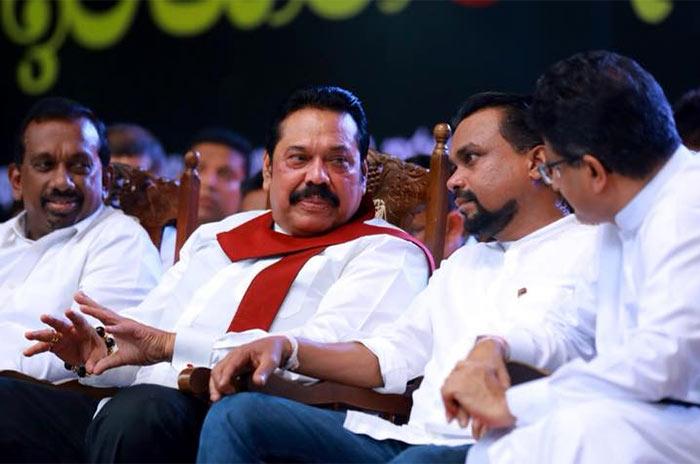 Mahinda Rajapaksa and Wimal Weerawansa with Udaya Gammanpila