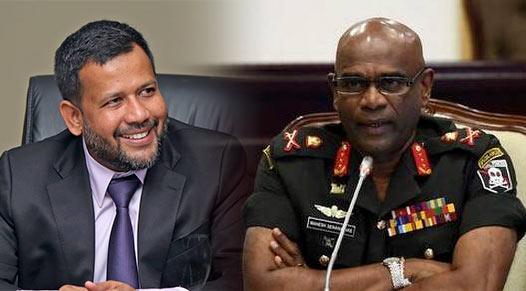 Minister Rishad Bathiudeen and Sri Lanka Army commander Mahesh Senanayake