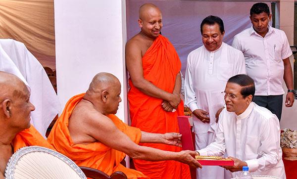 Sri Lanka President Maithripala Sirisena with Mahasangha