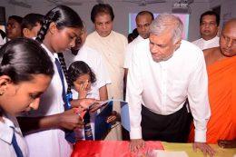 Sri Lanka Prime Minister Ranil Wickremesinghe at Mallika Navodya school in Hiniduma Sri Lanka