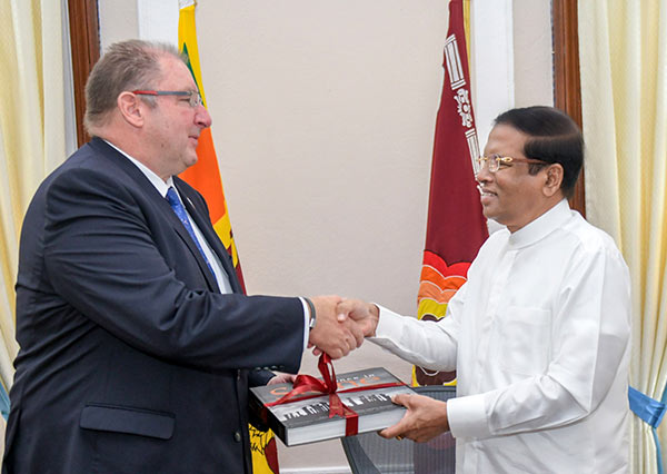 World Bank Vice President for South Asia Region, Hartwig Schafer with Sri Lanka President Maithripala Sirisena