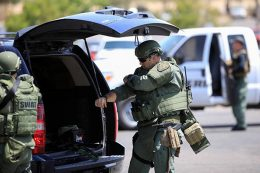 U.S. police at mass shooting site at Walmart store in Texas