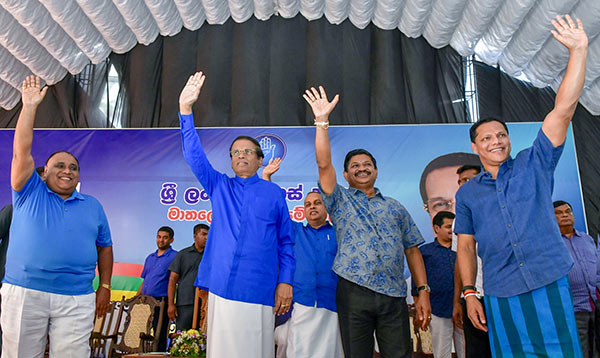 Maithripala Sirisena - President of Sri Lanka at political rally