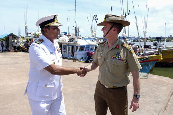 Major General Craig Furini with Sri Lanka Navy Rear Admiral Niraja Atigala