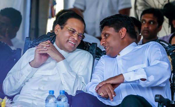 Maithripala Sirisena with Sajith Premadasa