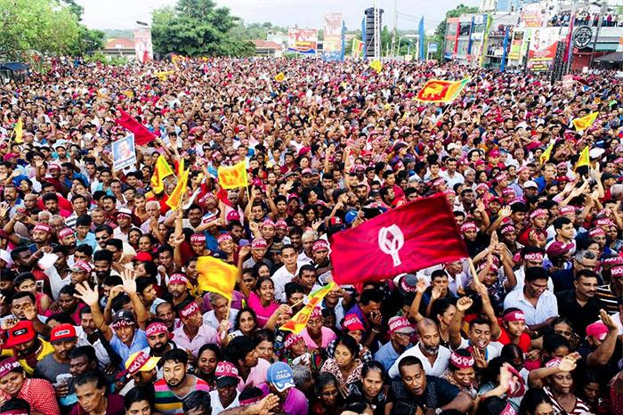 People at SLPP political rally in Sri Lanka