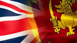 Sri Lanka and United Kingdom flags - UK flag with Sri Lanka flag