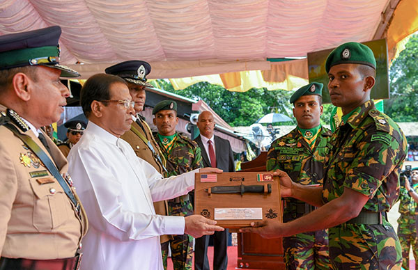 Sri Lanka President Maithripala Sirisena is at Police Special Task Force passing out ceremony