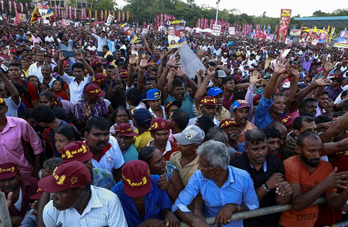 Supporters of Presidential candidate Gotabaya Rajapaksa in Sri Lanka