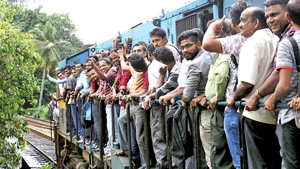 Train commuters in Sri Lanka