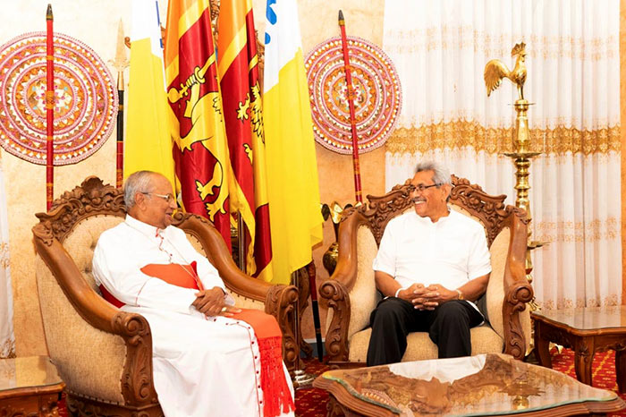 Cardinal Malcolm Ranjith with Sri Lanka President Gotabaya Rajapaksa