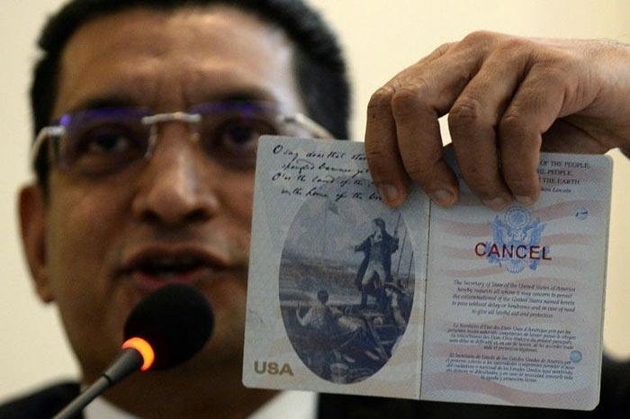 Lawyer Ali Sabry shows cancelled United States passport of Sri Lanka presidential candidate Gotabaya Rajapaksa