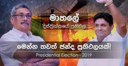 Matale district results of Presidential Election 2019 in Sri Lanka