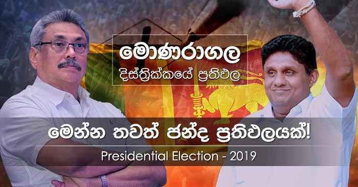 Moneragala district results of Presidential Election 2019 in Sri Lanka