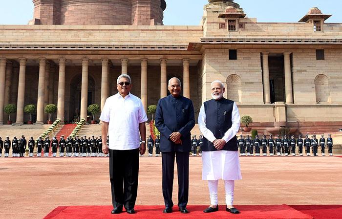Sri Lanka President Gotabaya Rajapaksa with India President Ram Nath Kovind and Prime Minister Narendra Modi