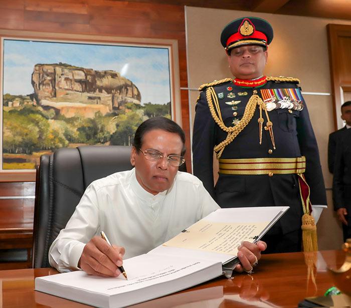 Sri Lanka President Maithripala Sirisena with Army Commander Shavendra Silva