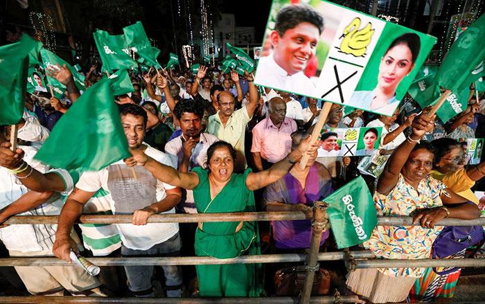 Supporters of Sajith Premadasa - Presidential candidate in Sri Lanka