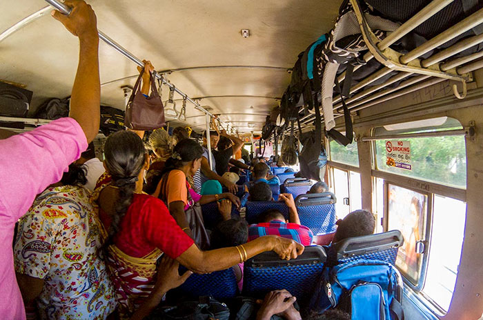 Inside view of a bus in Sri Lanka