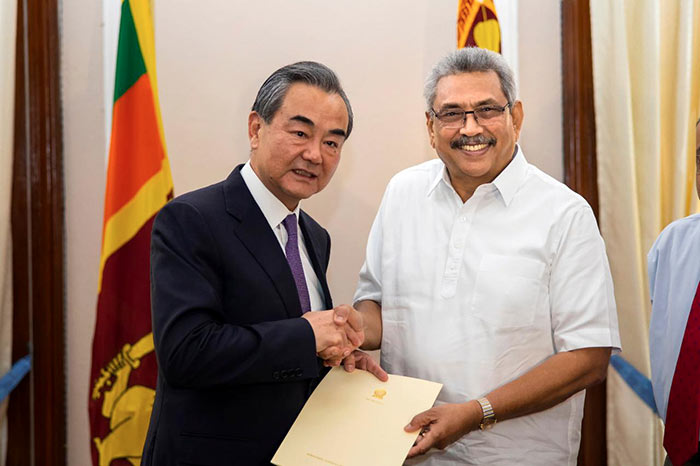 China Foreign Minister Wang Yi with Sri Lanka President Gotabaya Rajapaksa