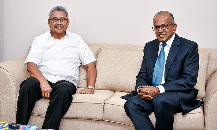 Sri Lanka President Gotabaya Rajapaksa has met Minister of Home Affairs and Law of Singapore, Kasiviswanathan Shanmugam