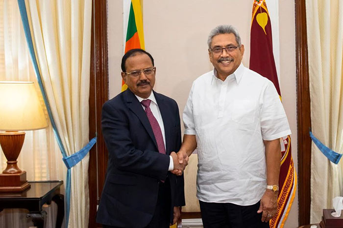 India's National Security advisor Ajit Doval with Sri Lanka President Gotabaya Rajapaksa