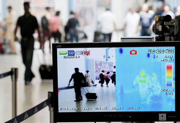 Scanner checks people from China for Coronavirus at Bandaranaike International airport in Katunayake Sri Lanka