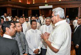 Sri Lanka President Gotabaya Rajapaksa with unemployed graduates