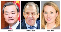 Wang Yi, Sergey Lavrov and Alice Wells