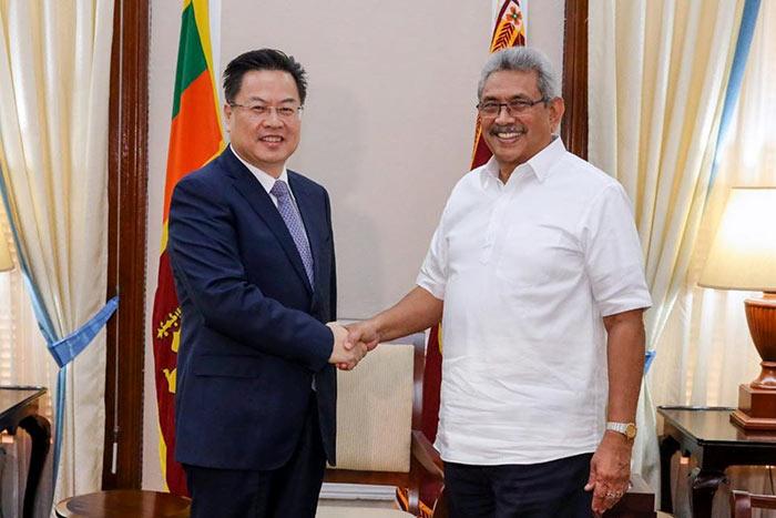 Chinese Ambassador Cheng Xueyuan with Sri Lanka President Gotabaya Rajapaksa