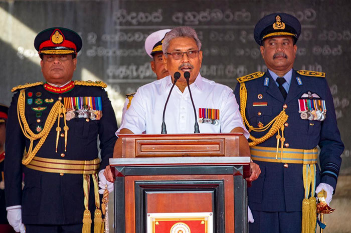 Sri Lanka President Gotabaya Rajapaksa is in an Independence day celebration