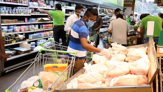 COVID-19 Coronavirus social distancing in supermarket in Sri Lanka