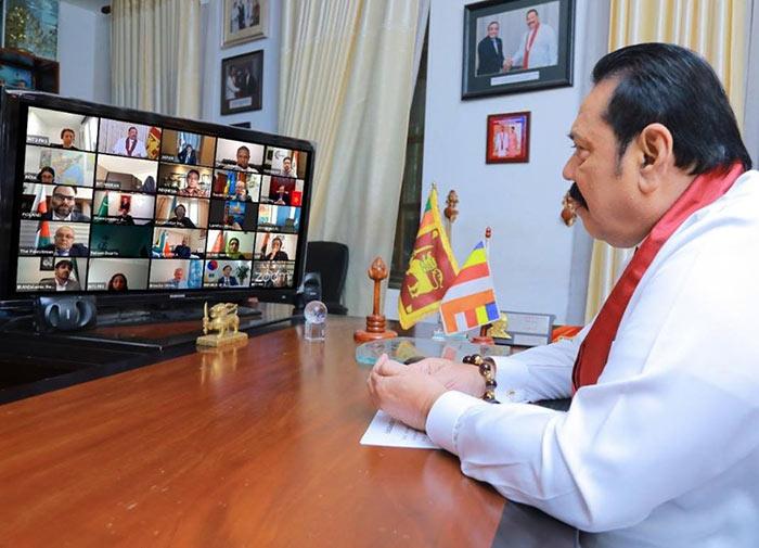 Mahinda Rajapaksa in an online discussion