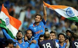 Sachin Tendulkar after winning the Cricket World Cup 2011