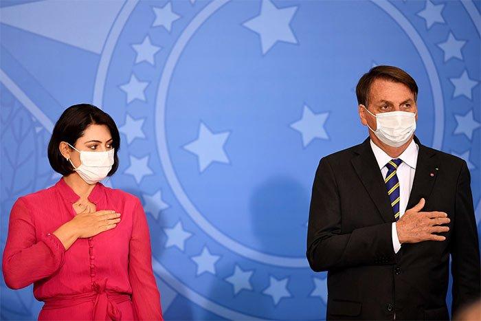 Brazilian President Jair Bolsonaro and the first lady Michelle Bolsonaro