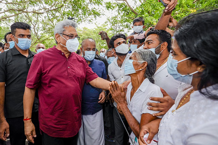 Sri Lanka President Gotabaya Rajapaksa with people in Anuradhapura