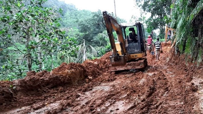 illegal road construction in Sinharaja rainforest Sri Lanka