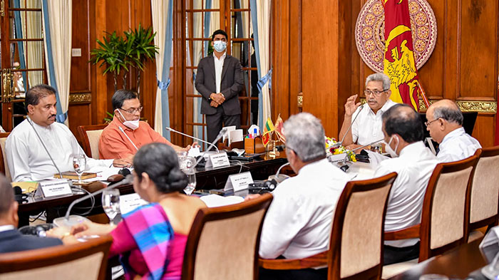 Sri Lanka President Gotabaya Rajapaksa at a meeting