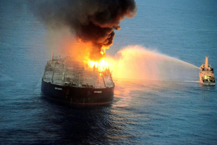 The New Diamond crude carrier of Indian Oil Corporation is on fire