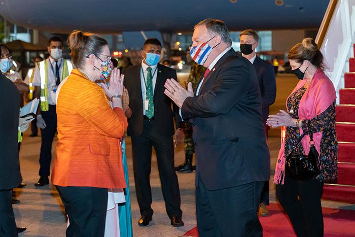 U.S. Secretary of State Mike Pompeo arrives in Sri Lanka