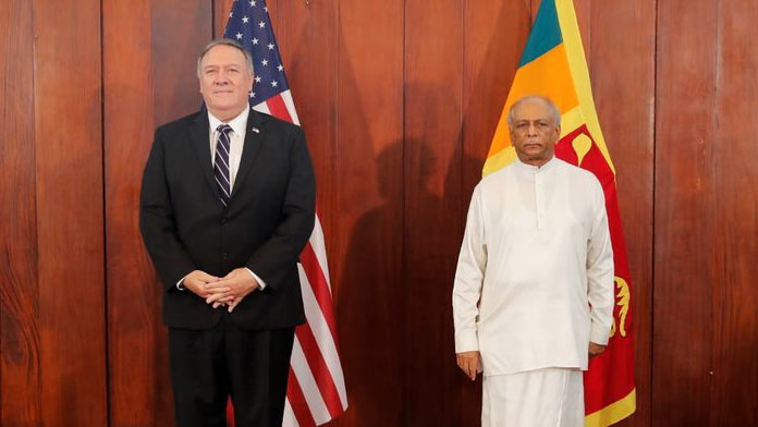 Mike Pompeo with Dinesh Gunawardena