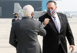 US Secretary of State Mike Pompeo is greeted by US Ambassador to India Kenneth Juster