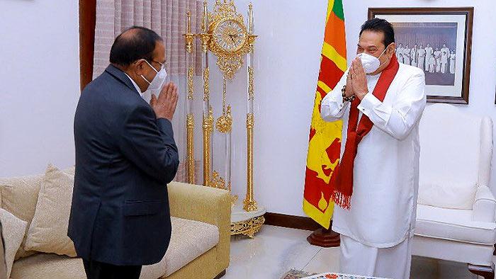 India's National Security Advisor Ajit Doval and Sri Lanka Prime Minister Mahinda Rajapaksa