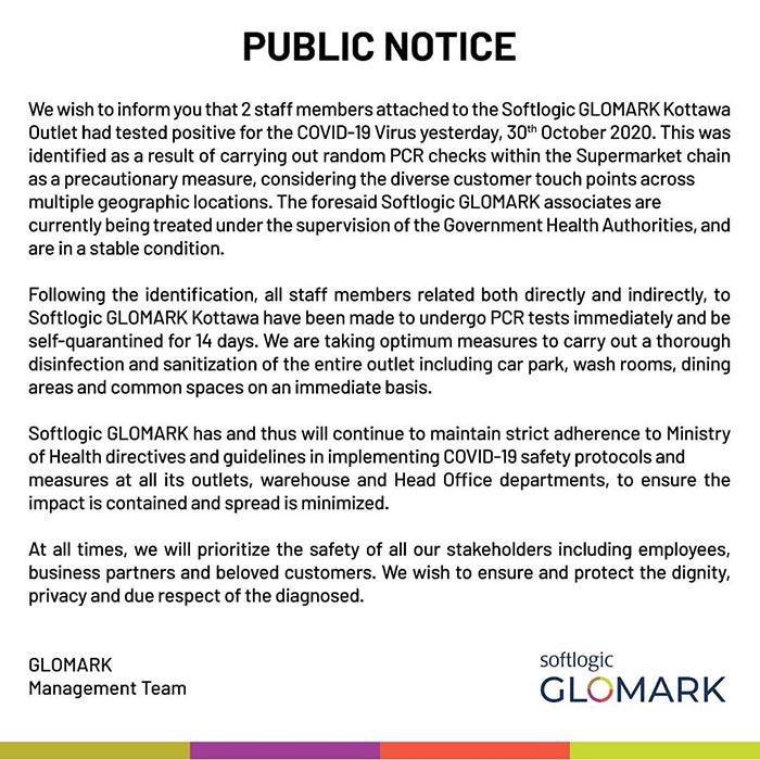 COVID-19 Public Notice by Glomark supermarket
