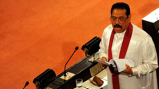 Sri Lanka Prime Minister Mahinda Rajapaksa at Sri Lanka Parliament