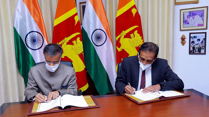 Secretary to the Ministry of Finance S.R. Attygalle and Indian High Commissioner to Sri Lanka Gopal Bagle