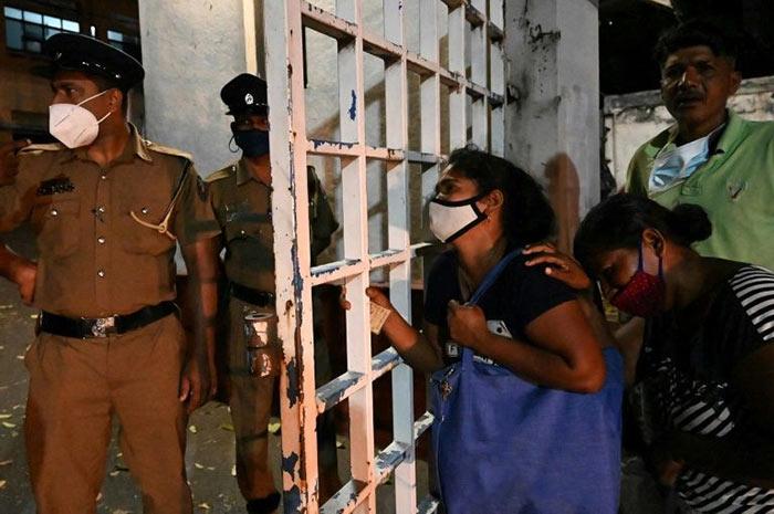 Family members of inmates at Mahara Prison in Sri Lanka