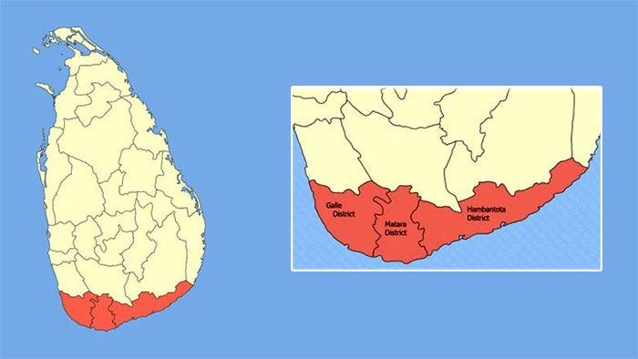 Southern province in Sri Lanka map