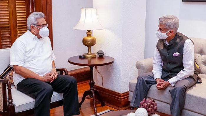 Sri Lanka President Gotabaya Rajapaksa and India's External Affairs Minister Subrahmanyam Jaishankar