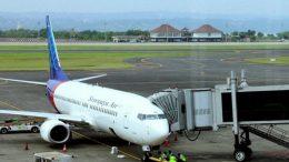 Sriwijaya Air plane on the runway in Jakarta Indonesia
