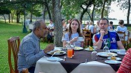 Udayanga Weeratunga with Ukrainian tourists in Sri Lanka